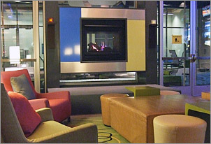 Fireplace at Aloft Hotel in Green Bay, WI
