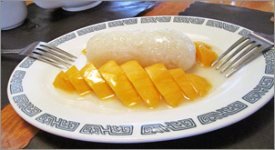 Mango and Sticky Rice at Bangkok Garden Thai Restaurant in Green Bay, WI