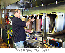 Preparing The Big Gyro at Gyro Kabobs De Pere, WI